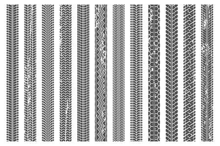 Reifen treten Spuren auf. Schmutzige Reifenspur, Grunge-Textur-Trittmuster und LKW-Autospur. Sportrad-LKW, Straßenschlammspur oder Motorradrennen-Textur. Vektor-Illustration isolierte Symbole gesetzt Vektorgrafik