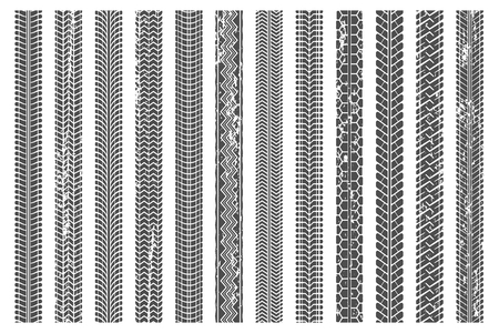 Tires tread tracks. Dirty tire track, grunge texture treads pattern and truck car trace. Sport wheel tread truck, road mud mark or motorcycle race texture. Vector illustration isolated symbols set Vektoros illusztráció