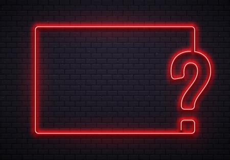 Marco de signo de interrogación de neón. Iluminación de prueba, lámpara de neón roja de punto de interrogación sobre fondo de textura de pared de ladrillos. Ilustración de vector 3d de concurso de concurso o concurso de preguntas
