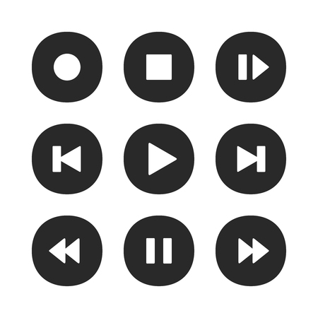 Music player buttons. Play icon, stop pause record and next song button. Video play rewind stop buttons, radio playing interface or audio recording sound control vector isolated icons set