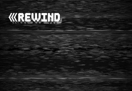 Rewind glitch screen. Retro television glitched vhs defect, glitches rewinds noise. White noise video error, vhs rewind pixel distortion graphic vector background illustration Illustration
