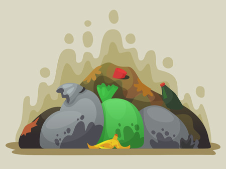 Garbage dump. Smelly trash in garbage bags, city dumps and pile of rubbish. Environmental pollution, dirty trash waste pill or dump littering heap cartoon vector illustration
