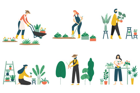 People gardening. Woman planting gardens flowers, agriculture gardener hobby and garden job. Gardening person, gardener flowers cutter working. Flat vector illustration isolated icons set Illustration