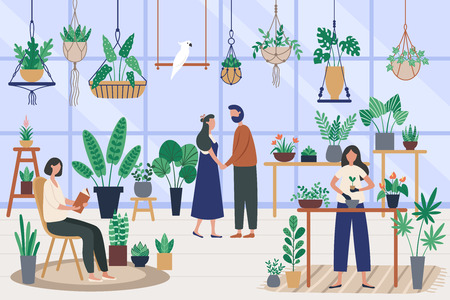 Botanist greenhouse. Planting houseplant, grow plants and planter hobby. Friends spending time at orangery, garden meditation or botanist planters relaxing vector illustration