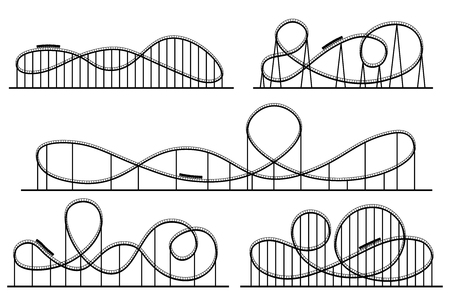 Roller coaster silhouette. Amusement park atractions, switchback attraction and rollercoaster. Fair coasters construction, amusements rollercoasters. Vector isolated symbols silhouettes set