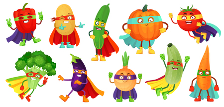 Superhero vegetables. Super cucumber, hero mask on pumpkin and vegetable food with superheroes cloak. Vegetarian superheroes characters. Cartoon vector illustration isolated icons set