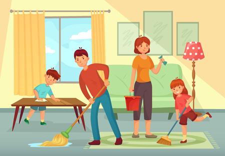 Casa de limpieza familiar. Padre, madre e hijos limpiando la sala juntos. Familia de tareas domésticas, limpieza de pisos domésticos sucios o ilustración de vector de dibujos animados de trabajo doméstico regular