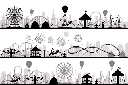 Amusement park landscape. Carnival roller coasters silhouettes, festive carousel and ferris wheel parks. Vacation amusements, carnival entrance or invitation flyer vector silhouette illustration Çizim