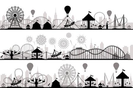 Paysage de parc d'attractions. Silhouettes de montagnes russes de carnaval, carrousel festif et parcs de grande roue. Divertissements de vacances, entrée de carnaval ou illustration de silhouette vecteur flyer invitation