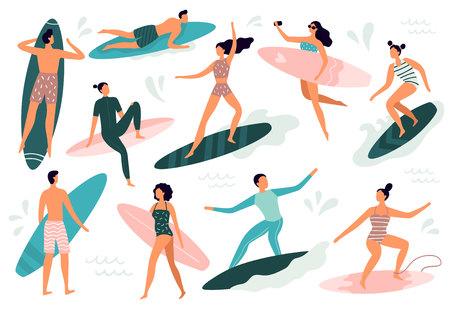 Les gens du surf. Surfer debout sur une planche de surf, surfeurs sur la plage et planches de surf d'été. Mode de vie tropical hawaïen, surfeurs en maillot de bain. Ensemble de symboles isolés illustration vectorielle