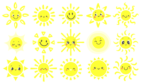 Hand drawn sun. Cute bright suns with funny smiling face, warm shining sunlight and happy day sun. Sunny emotions sketch. Cartoon vector illustration isolated sign set