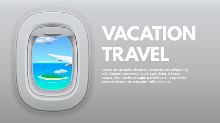 Airplane porthole view. Travel aircraft wing in window, traveler air plane and vacation traveling. Jet sky side, airplane journey or aircraft cabin view booklet concept vector illustration Vetores