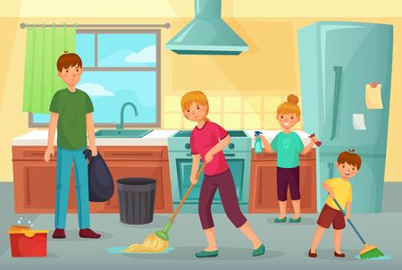 Cocina de limpieza familiar. Padre, madre e hijos limpian la cocina juntos quitando el polvo y limpiando el piso. Limpieza doméstica de la cocina, ilustración de vector de dibujos animados de limpieza regular de familia ordenada