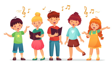 Singing kids. Music school, kid vocal group and children choir sing. Children singing performance or school karaoke singer character. Cartoon vector illustration isolated icons set Vektorové ilustrace