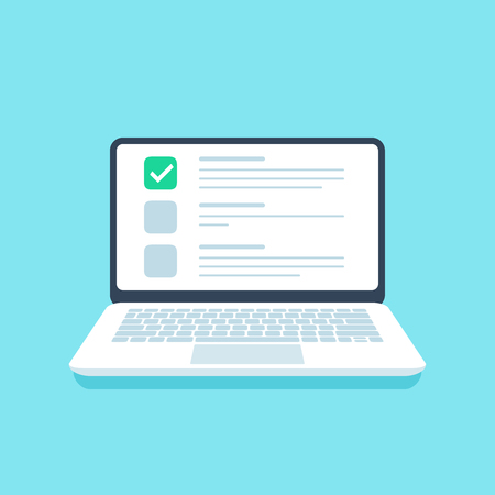 Online quiz checklist. Web exam, options choice on laptop screen and questionnaire checklists. Application online form, digital pc test or notebook website testing vector illustration