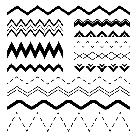 Wavy zigzag. Wiggle jagged waves, parallel sinus line wave border and sine zigzags frame. Squiggle strip frames, curvy divider or wiggly billow. Vector seamless illustration isolated symbols set