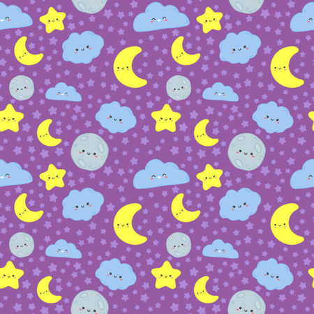 Night sky seamless pattern. Cute moon with sleep face, clouds and stars kids fabric printing. Moon night print textile or cloudy characters wrapping. Wallpaper vector cartoon illustration