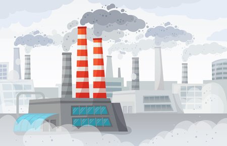 Factory air pollution. Polluted environment, industrial smog and industry smoke clouds. Environment carbon dioxide pollutions, toxic factories building fumes or dirty fuel smog vector illustration 일러스트