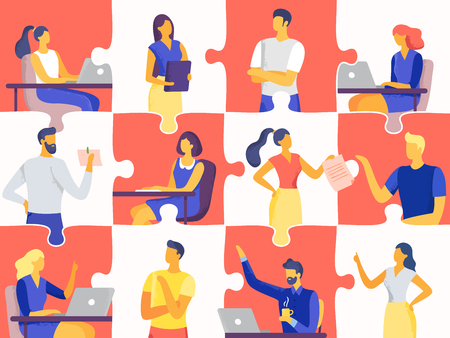 Business team puzzle. Professional people jigsaw, teamwork mosaic and office workers. Team goal training, business meeting or puzzle collaborative metaphor flat vector illustration Stock Illustratie