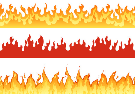 Bannière de feu. Bordure de flamme silhouette flamboyante ou flammes éternelles. Bannières enflammées de l'enfer, feu de forêt brûlant enflammé ou flammes chaudes inflammables frontières ensemble d'illustrations isolées