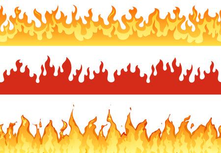 Feuerbanner. Flammengrenze lodernde Silhouette oder ewige Flammen. Hölle flammende Banner, abgefeuerte feurige Lauffeuer oder brennbare heiß entzündete Grenzen isolierter Illustrationssatz