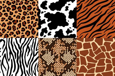 Wzór skór zwierzęcych. Skóra lamparta, tkanina zebry i skóra tygrysa. Safari bezszwowe wzory żyrafa, krowa i wąż. Modne ubrania drukuje, dzikie skóry futra drukowane tekstury wektor zestaw Ilustracje wektorowe