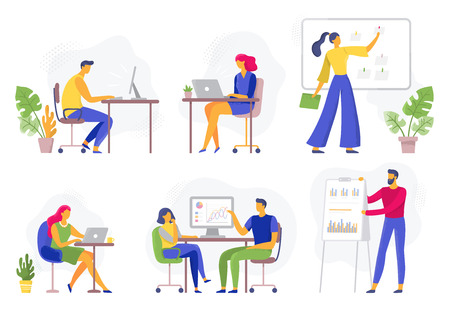 Office workflow. Working business people, remote teamwork and workers team collaboration. Enthusiastic team discussion, illustrator creative startup. Flat vector illustration isolated icons set Illustration