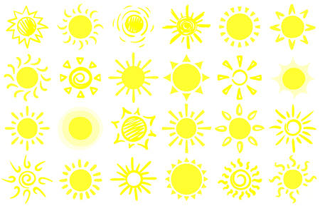 Summer sun sketch. Hand drawn suns, warm sunrise sunlight and happy sunbeam. Sun doodle, morning sunny yellow sketch. Cartoon vector isolated symbols set