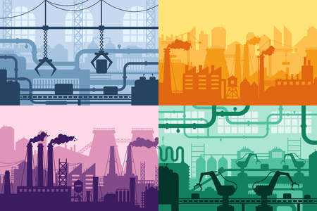 Industrial factory silhouette. Manufacture industry interior, manufacturing process and factories machines. Machine factory industries, refineries or gas pollution vector background set Stock Illustratie