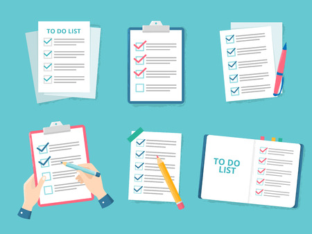 Business checklist. Priority list checks, check mark list and checking paper to do checklists. Office checks forms, businessman organization questionnaire. Flat vector illustration isolated icons set Stock Illustratie