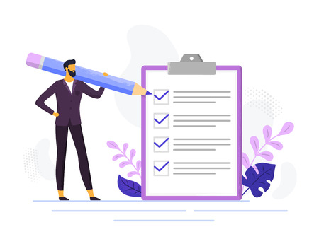 Businessman checklist. Control business checklists, male person holding pencil and exam paper lists. Checks tasks, checklist office forms or questionnaire checkbox vector illustration