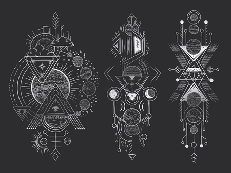 Abstract magical tattoo. Sacred geometric moon, mystic revelation arrows lines and mysticism harmony hand drawn. Illuminati or masonic tatoo, alchemy esoteric paranormal occult vector illustration Illustration