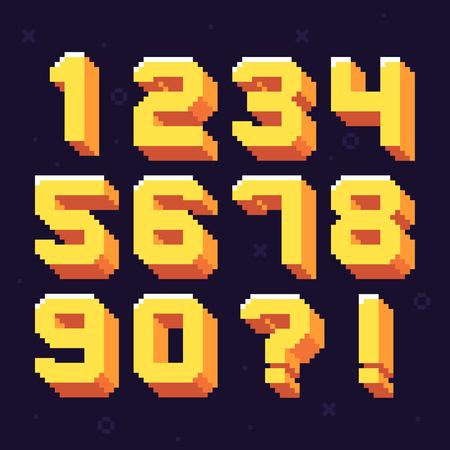 Pixel numbers. Retro 8 bit pixels number font. Oldschool games pixels numbers, arcade video gaming 80s vector illustration symbols set