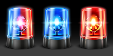 Realistic ambulance flashing. Police light flasher, safety lights and warning siren flashing lamps. Emergency light, accident flasher or rescue alarm 3D vector isolated objects set Illustration