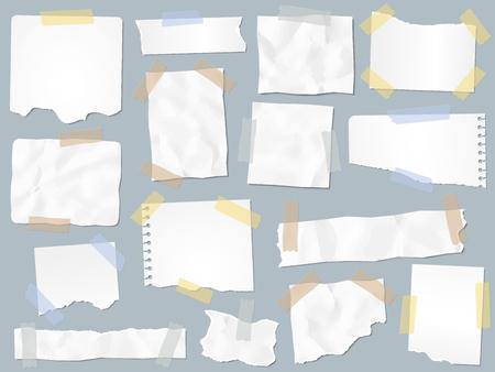 Des chutes de papier sur du ruban adhésif. Papiers déchirés vintage sur rubans adhésifs, cadres de pages de ferraille et page de notes en papier kraft. Scrapbooking ou page de cahier déchirée. Jeu de signe isolé illustration vectorielle