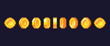 Pixel game coins animation. Golden pixelated coin animated frames, retro 16 bit pixels gold and video games money. Pixelated videogamer currency or videogame arcade gold vector illustration Ilustração Vetorial