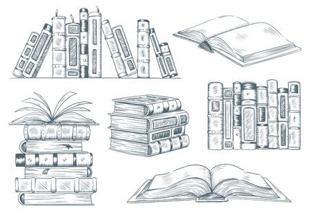 Gravure de livres. Croquis de gravure de livre ouvert vintage dessiné. Dessin à la main étudiant lecture illustration vectorielle de manuel