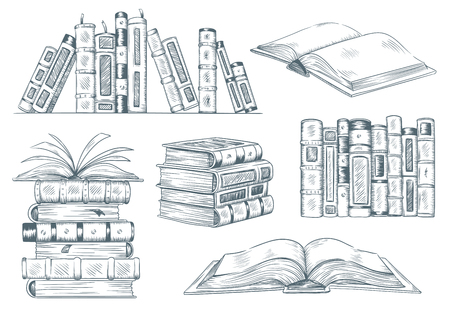 Books engraving. Vintage open book engrave sketch drawn. Hand drawing student reading textbook vector illustration