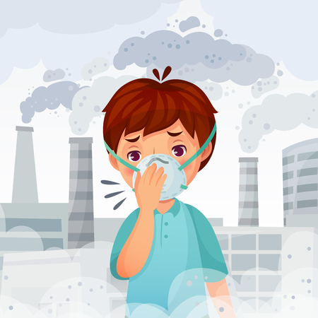 Boy wearing N95 mask. Dust PM 2.5 air pollution, young men breath protection and safe face mask. Fog danger, dirty smog or sick disease protect face mask cartoon vector illustration Иллюстрация