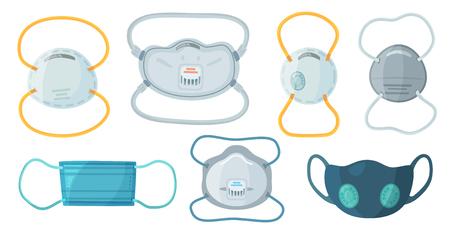 Maski ochronne do oddychania. Maska przemysłowa N95, respirator przeciwpyłowy i medyczna maska oddechowa do oddychania. Szpital lub zanieczyszczenia chronią maskowanie twarzy. Zestaw symboli na białym tle wektor kreskówka