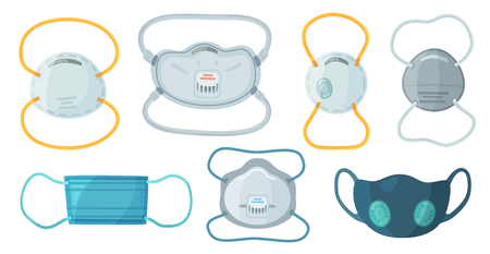 Veiligheidsademhalingsmaskers. Industrieel veiligheidsmasker N95, stofbeschermingsmasker en ademhalingsmasker voor medisch gebruik. Ziekenhuis of vervuiling beschermen gezichtsmaskering. Cartoon vector geïsoleerde symbolen set
