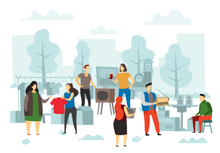 Flea market shopping. Fleas bazaar, people selling fashion clothes and street trading. Second hand shopping, flea shop or hipster antique accessories sale flat vector illustration