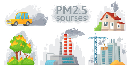 Air pollution source. PM 2.5 dust, dirty environment and polluted air sources infographic. Industrial outdoor fog, town pollution or city dust danger. Cartoon vector isolated symbols illustration set  イラスト・ベクター素材
