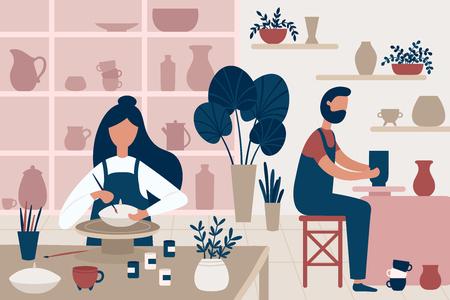 Passe-temps de poterie. Faïence artisanale, décorateurs de pots et atelier de poterie artisanale. Maître d'artisanat en céramique, artiste de poterie en céramique ou atelier d'artisan de pot illustration vectorielle plane