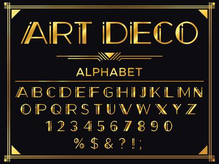 Fuente art deco. Letras decorativas de oro de los años 20, tipografía de moda vintage y conjunto de vectores de alfabeto de oro viejo
