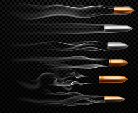 Flying bullet traces. Shooting military bullets smoke trace, handgun shoot trails and realistic shoot trail. Gunshots, bullet in motion, military smoke trails. 3D vector isolated sign illustration set