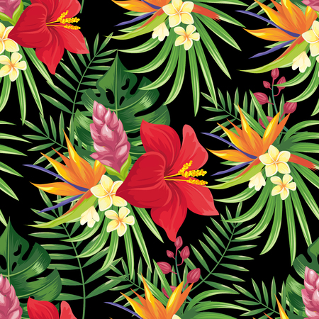 Rainforest flowers seamless pattern. Tropical flower leaves, tropic jungle plants and exotic floral branch. Hawaii wallpaper or textile fabric print with monstera leaf vector background