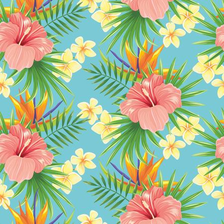 Blumen nahtlose Muster. Stilvolle Frühlingsblume, tropische Pflanzenblätter und florale Zierfliesen. Hawaiianischer tropischer exotischer Hibiskus botanischer Verpackungsvektorhintergrund