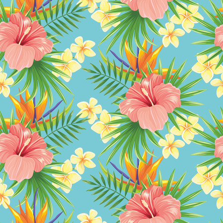 Flowers seamless pattern. Stylish spring flower, tropical plants leaves and floral ornamental tiles. Hawaiian tropic exotic hibiscus botanical wrapping vector background