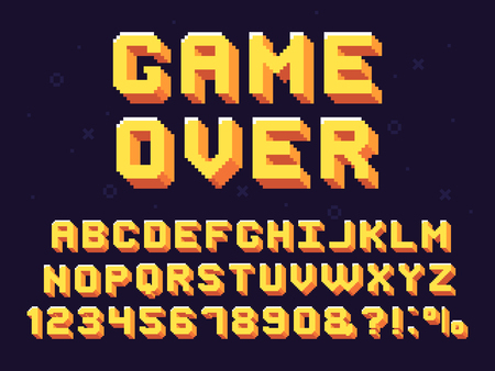 Police de jeu de pixels. Texte de jeux rétro, alphabet de jeu des années 90 et lettres d'infographie 8 bits. Lettre de police pixélisée, jeu d'arcade texte en pixels 8 bits et ensemble de symboles vectoriels rétro